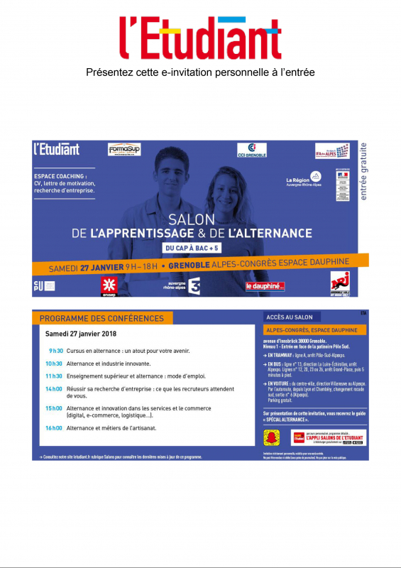 RV au salon de l'Apprentissage et de l'Alternance
