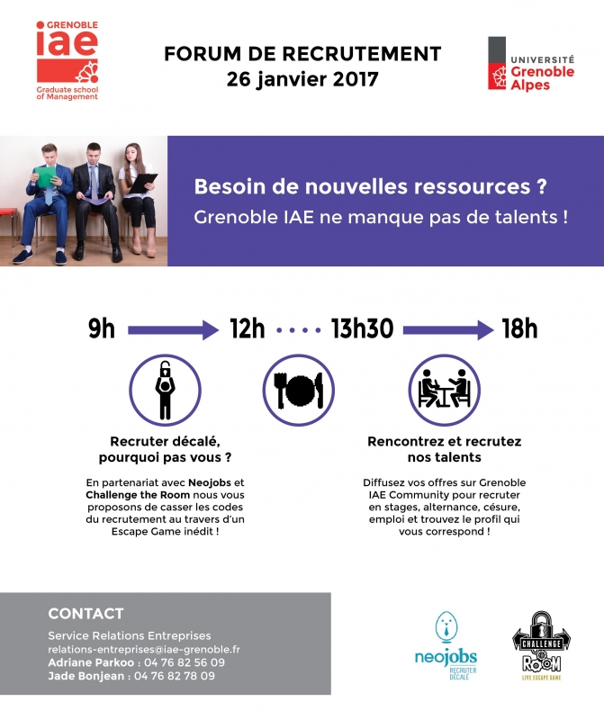 Participez au  forum de recrutement de Grenoble IAE